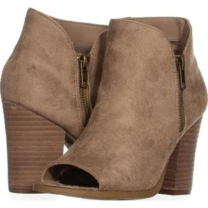 Brown faux suede ankle bootie with peep toe